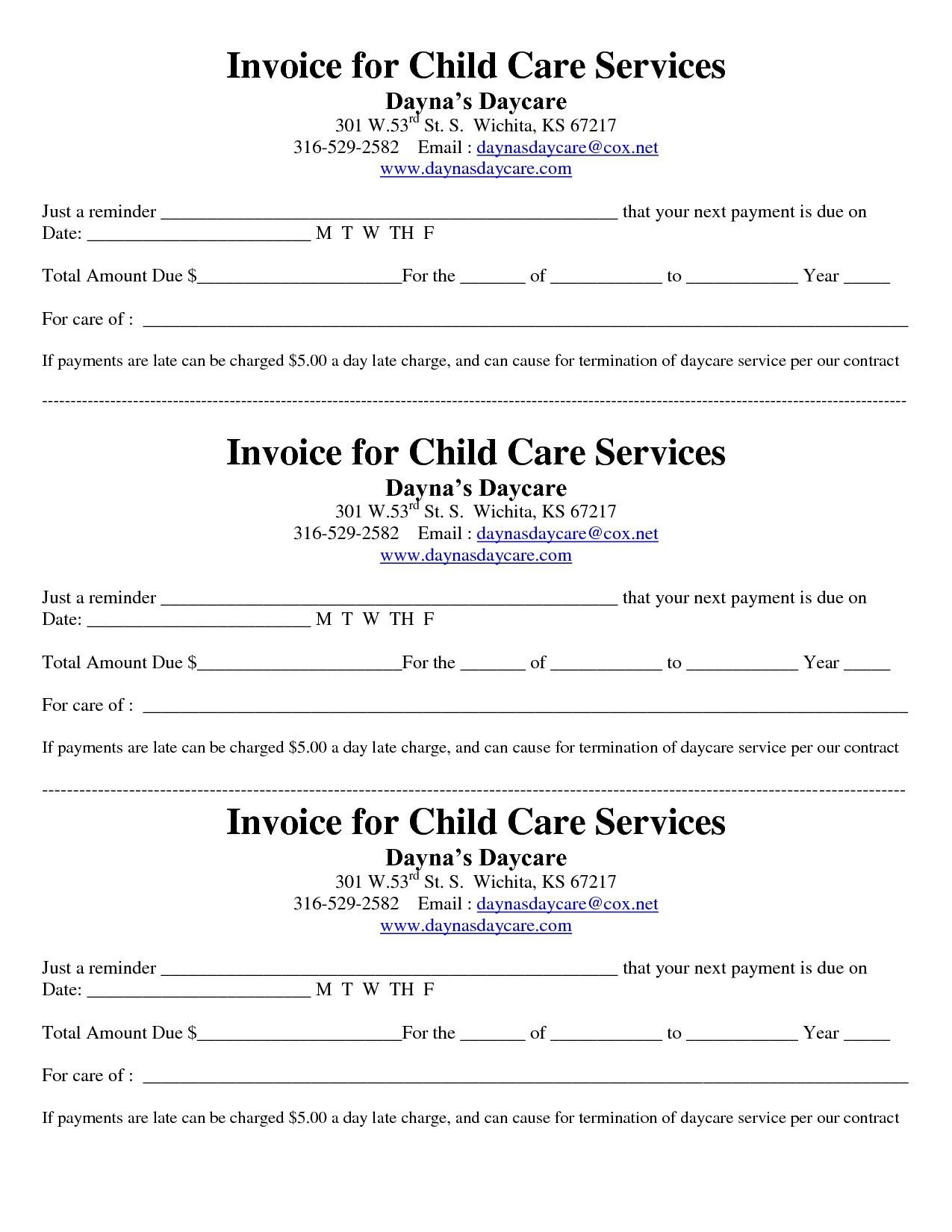 Child Care Receipt Template Child Care Receipt Invoice Jordi Preschool