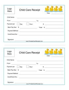 Child Care Receipt Template Child Care Receipt