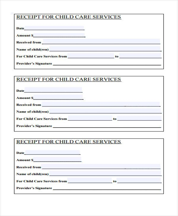 Child Care Receipt Template Printable Receipt forms 41 Free Documents In Word Pdf