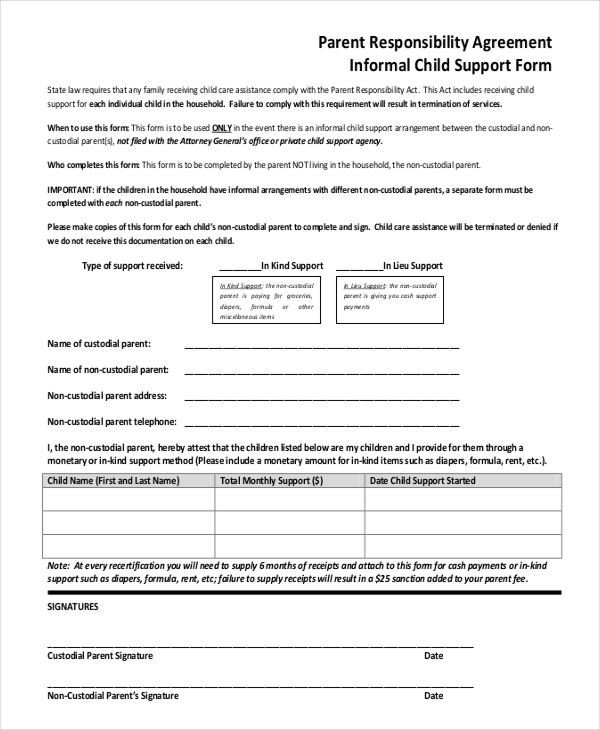 Child Custody Agreements Templates 10 Child Support Agreement Templates Pdf Doc