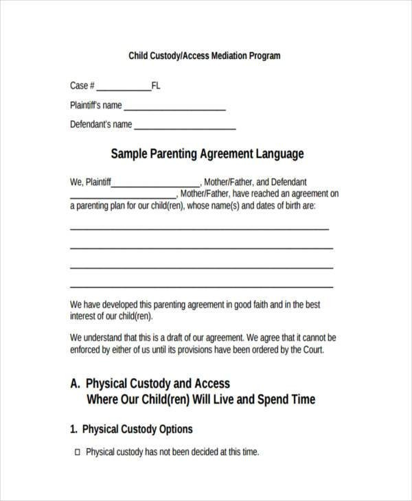 Child Custody Agreements Templates 8 Custody Agreement form Samples Free Sample Example