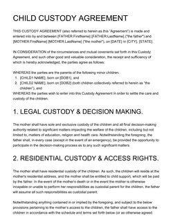 Child Custody Agreements Templates Agreement Templates [100 Free Examples] Create Edit