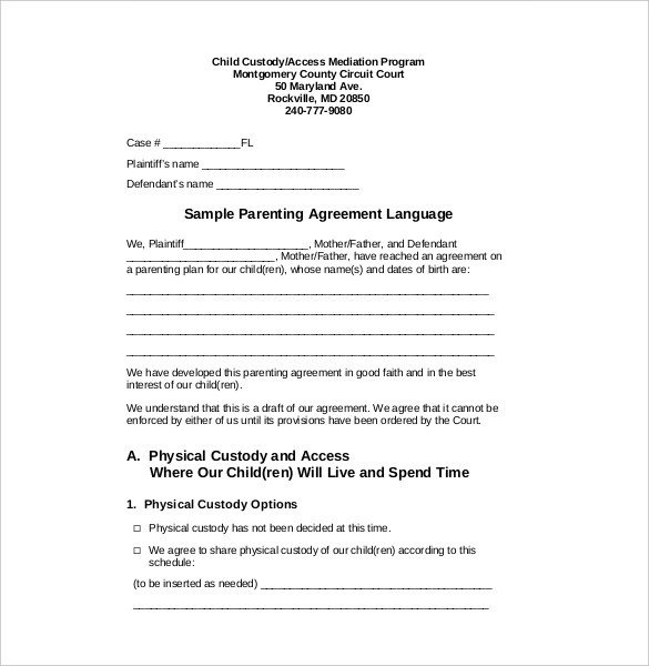 Child Custody Agreements Templates Custody Agreement Template – 10 Free Word Pdf Document