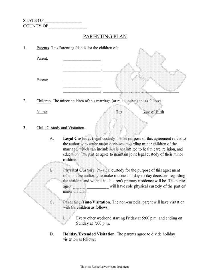 Child Custody Agreements Templates Parenting Plan Child Custody Agreement Template with