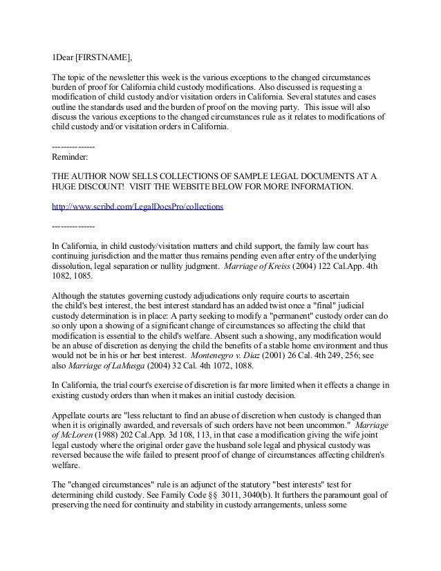Child Custody Letter Template California Child Custody and Visitation Modifications