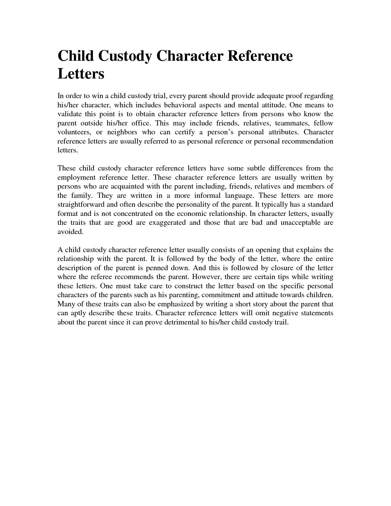 Child Custody Letter Template Character Reference Letter for Court Child Custody