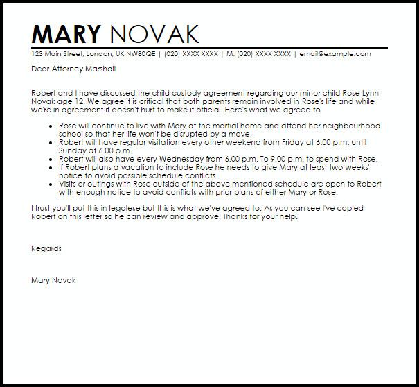 Child Custody Letter Template Child Custody Agreement Letter Example