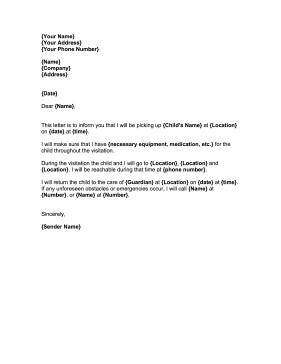 Child Custody Letter Template Child Visitation Letter Template