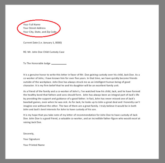 Child Custody Letter Template Free Character Reference Letter for Court Template