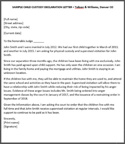 Child Custody Letter Template How to Write A Declaration Letter for Child Custody