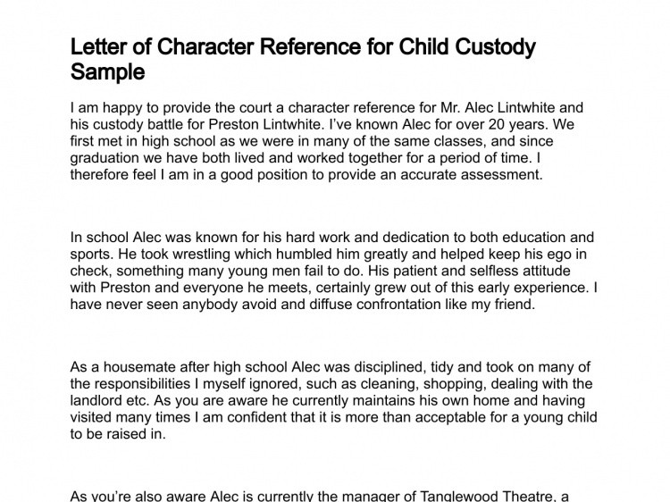 Child Custody Letter Template Sample Character Reference for Child Custody