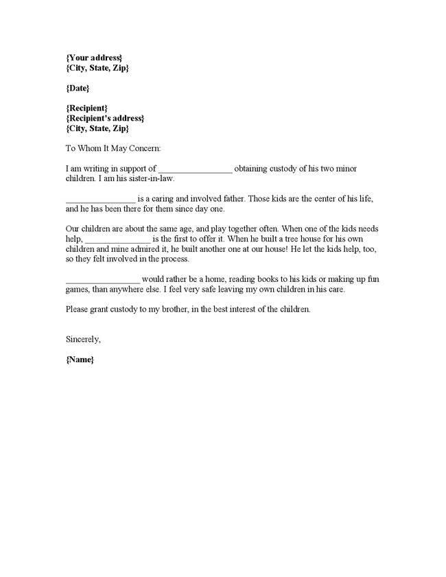Child Custody Letter Template Sample Character Reference Letter for Court Child Custody