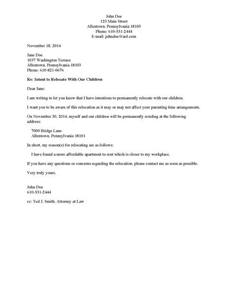 Child Relocation Agreement Template Best S Of Request to Move Out Letter Move Out