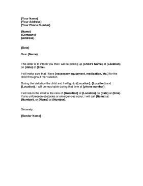 Child Relocation Agreement Template Child Visitation This Free Printable Court Letter Covers
