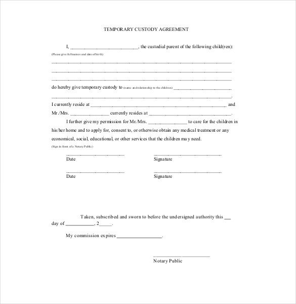 Child Relocation Agreement Template Custody Agreement Template – 10 Free Word Pdf Document