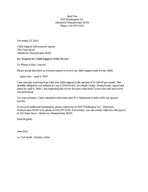 Child Relocation Agreement Template Divorce source Child Support Review Request Letter Payee