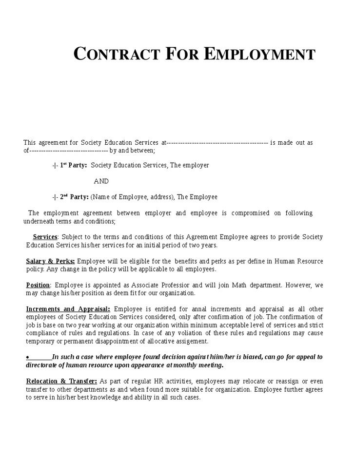 Child Relocation Agreement Template Employment Contract Sample