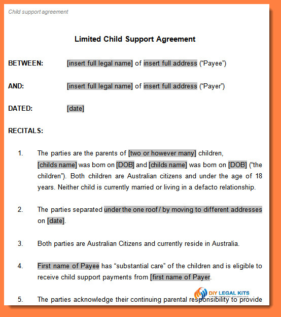 Child Support Agreement form 7 Child Support Payment Agreement Template