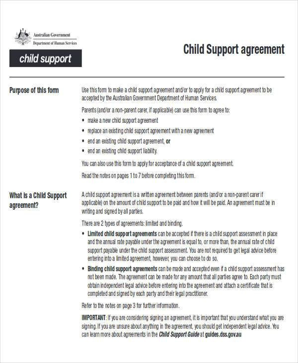 Child Support Agreement form Agreement Examples