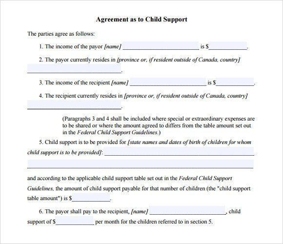 Child Support Agreement form Child Support Agreement Template 7 Free Samples