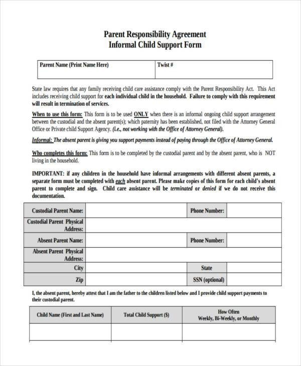 Child Support Agreement form Sample Child Support Agreement forms 8 Free Documents