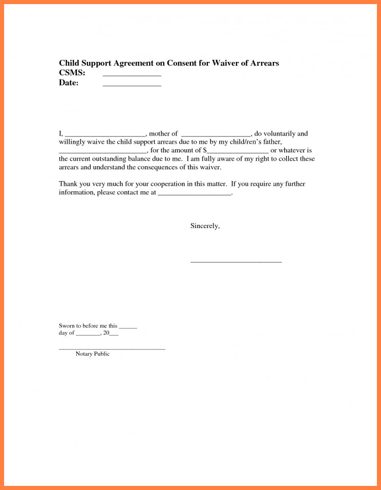 Child Support Agreement Letter 9 Sample Child Support Agreement Letter Template