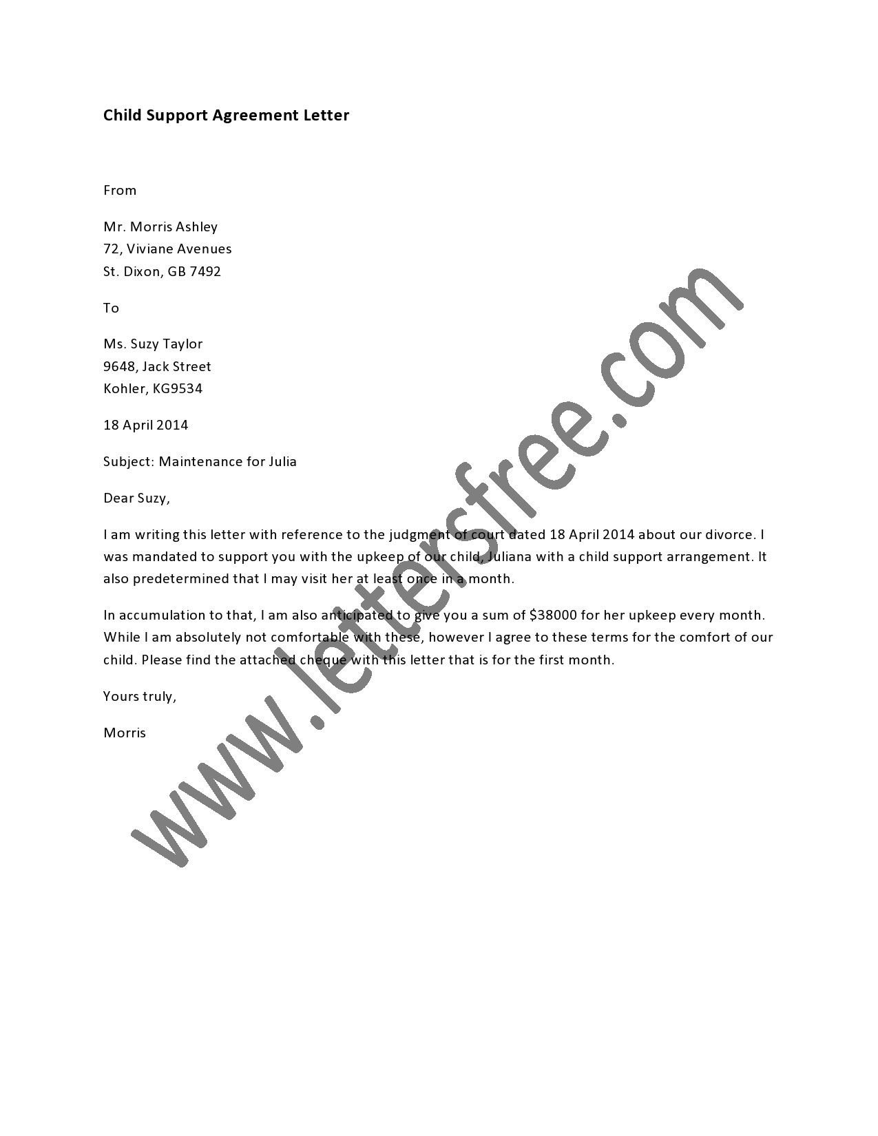 Child Support Agreement Letter A Written Child Support Agreement Between Parents is