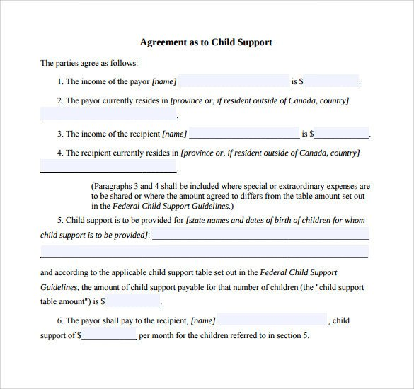 Child Support Agreement Sample 10 Sample Child Support Agreement Templates Pdf