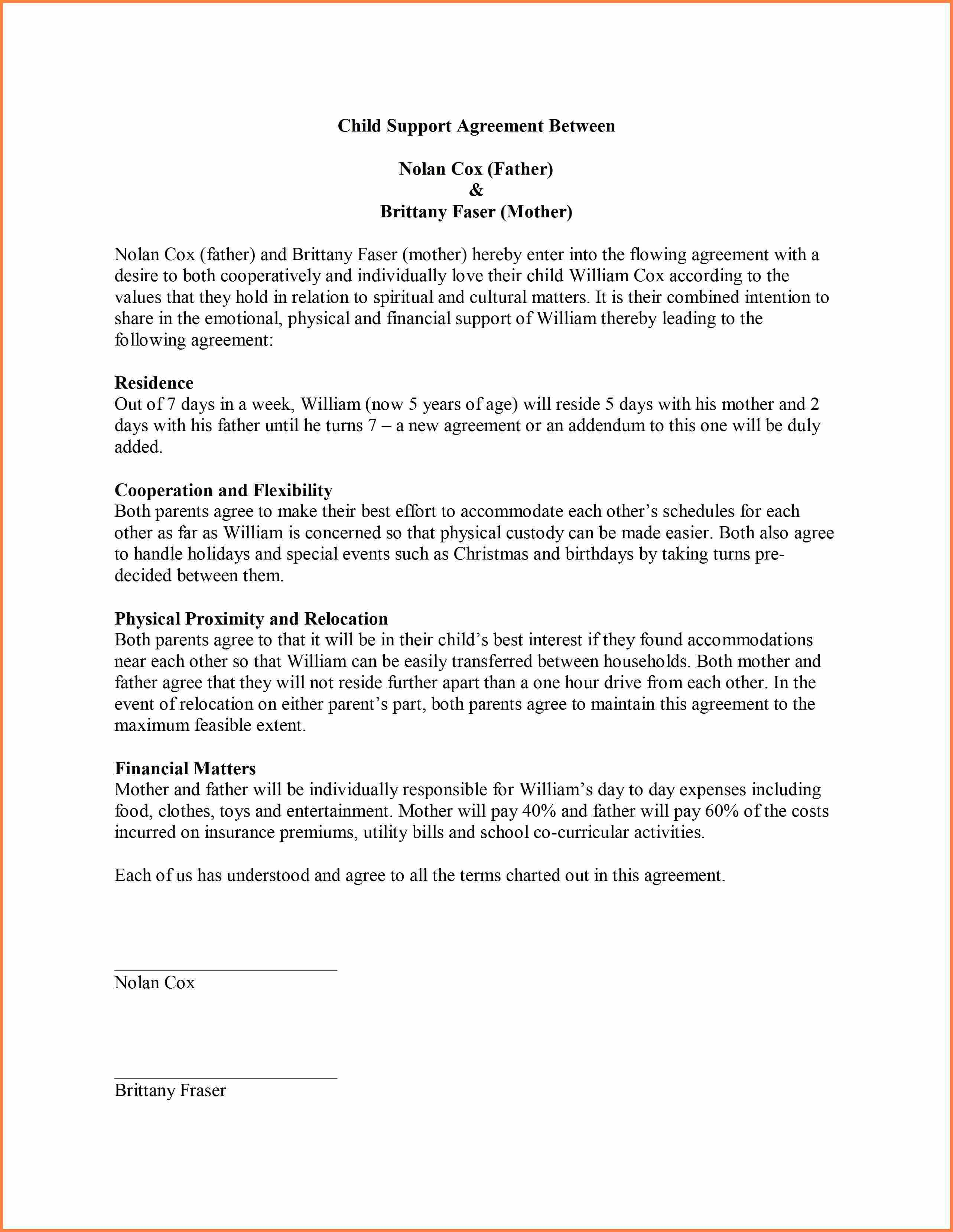 Child Support Agreement Sample 9 Sample Child Support Agreement Letter Template