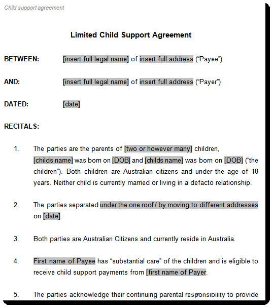 Child Support Agreement Sample Child Support Agreement Template to Document Arrangements