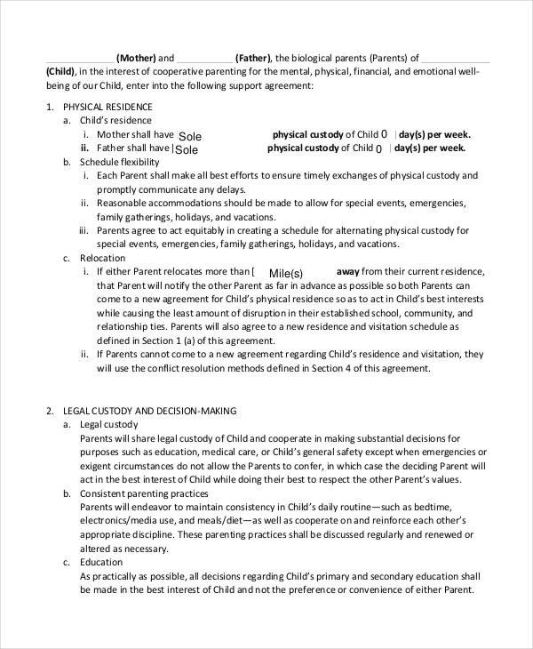 Child Support Agreement Template 10 Child Support Agreement Templates Pdf Doc