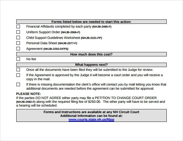 Child Support Agreement Template 10 Sample Child Support Agreement Templates Pdf