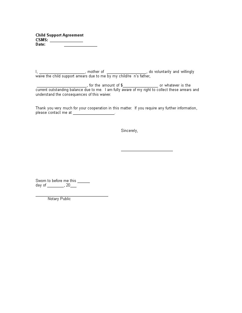 Child Support Agreement Template Child Support Mutual Agreement