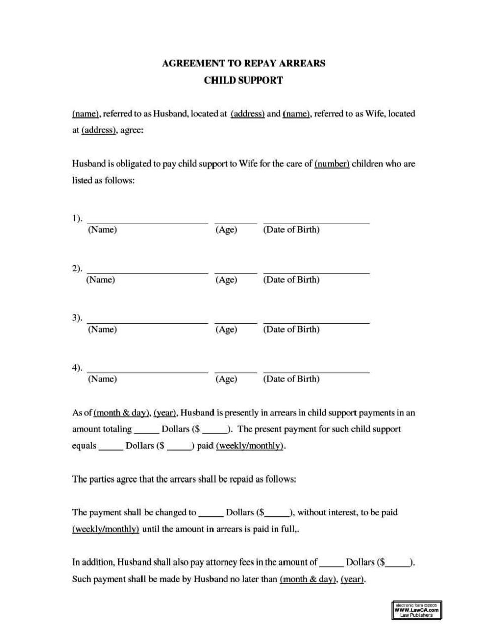 Child Support Agreement Template Child Support Payment Agreement Template