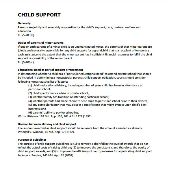 Child Support Agreement Template Sample Child Support Agreement 7 Example format