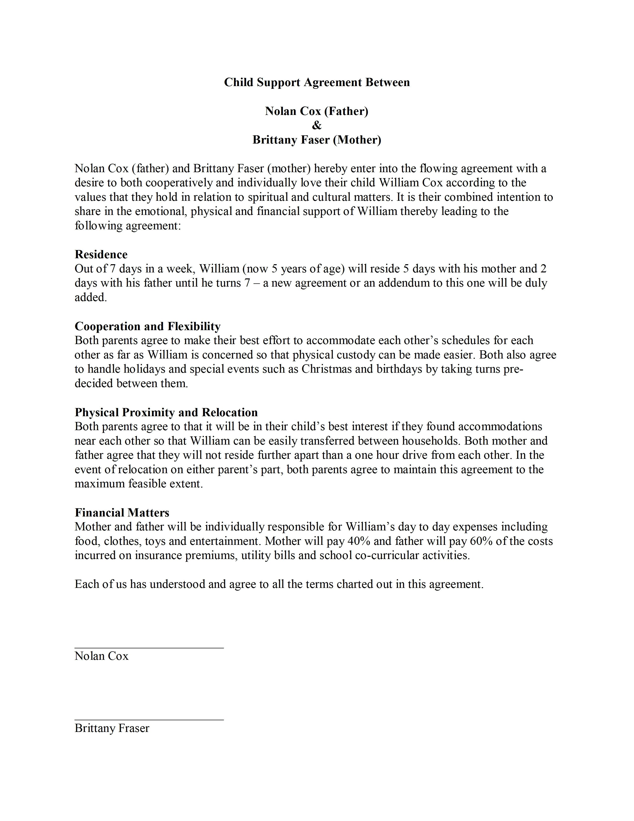 Child Support Agreement Template Word Templates