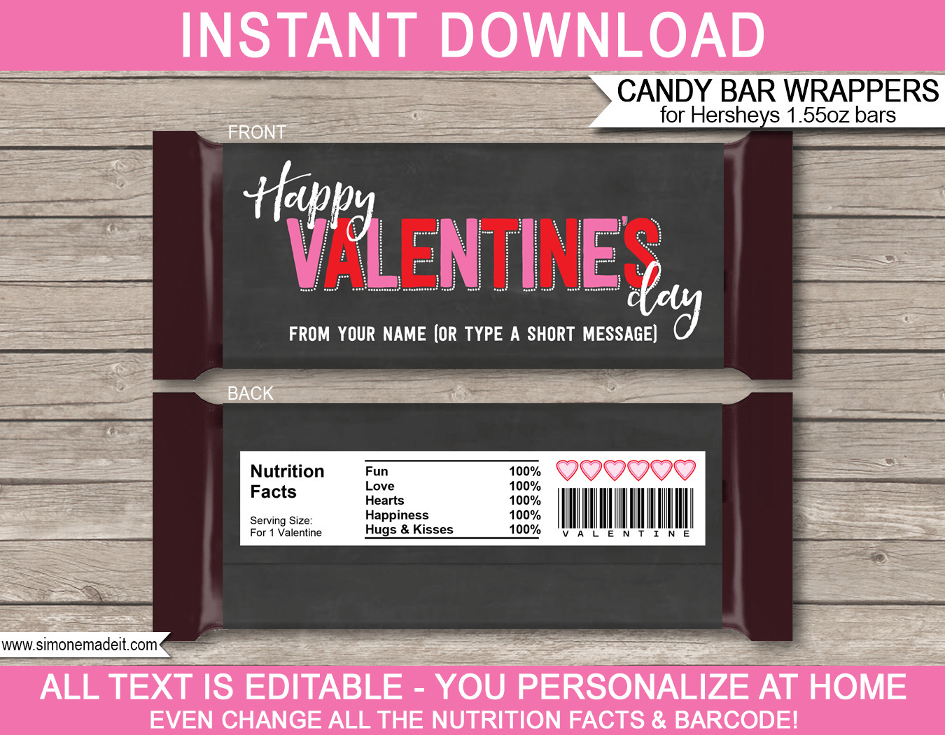 Chocolate Bar Wrapper Template Valentine S Day Candy Bar Wrappers