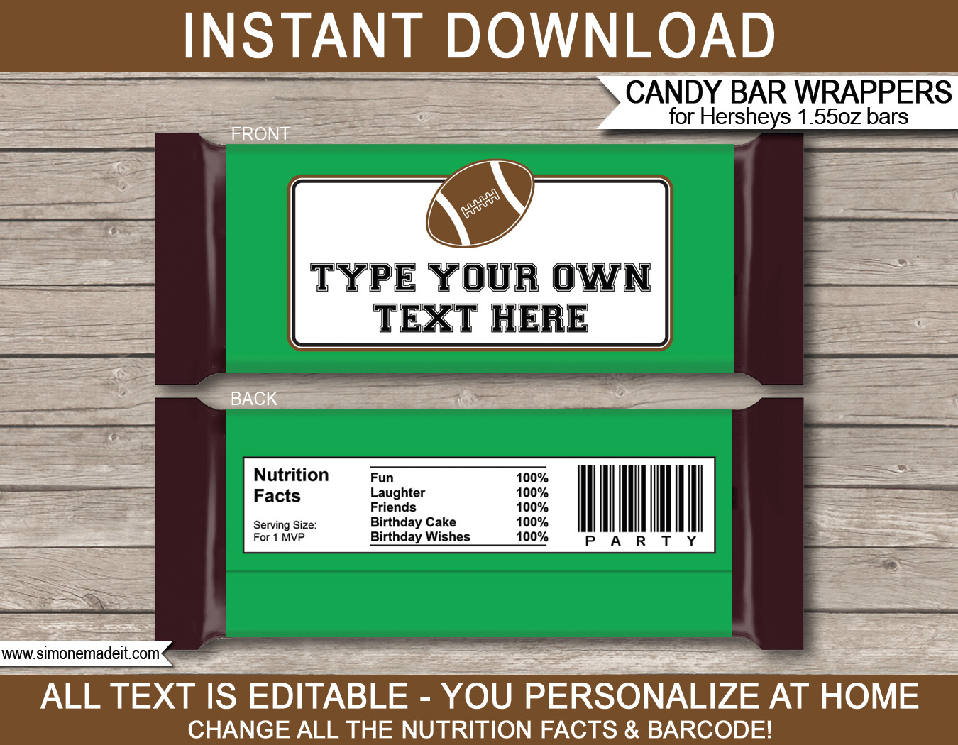 Chocolate Bar Wrapper Templates Football Hershey Candy Bar Wrappers