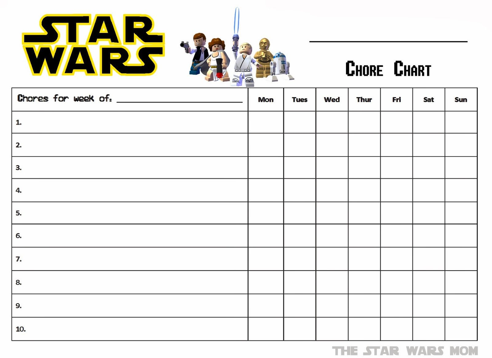 Chore Chart Templates Free Lego Star Wars Free Printable Chores Chart the Star
