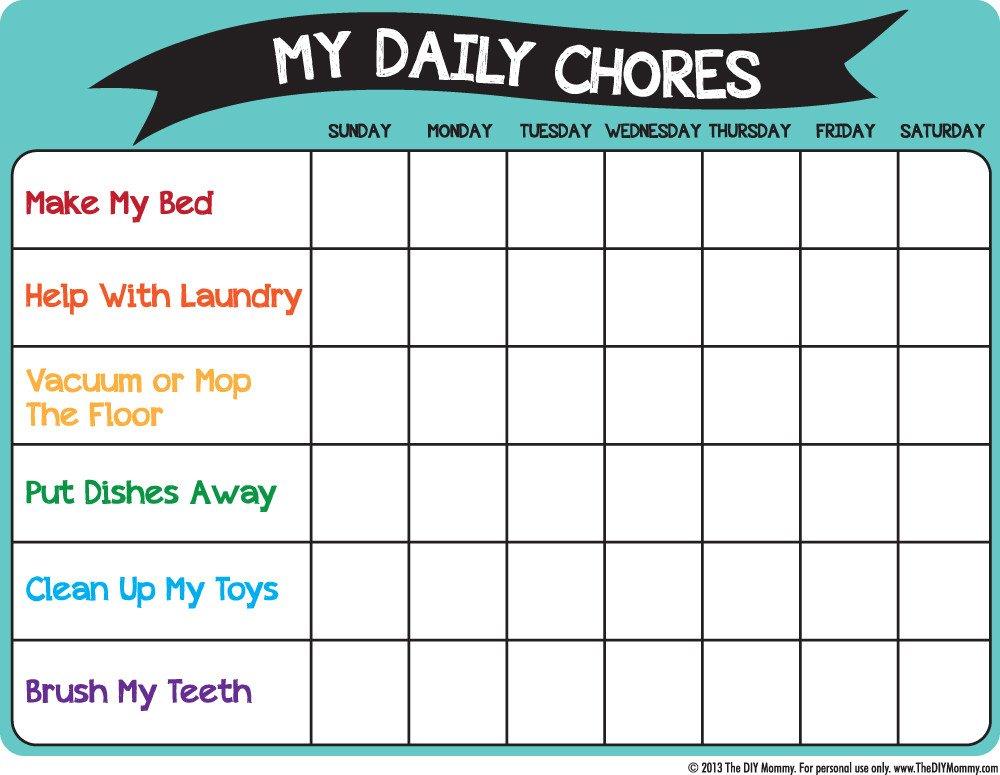Chore Chart Templates Free Make A Preschool Chore Chart Free Printable