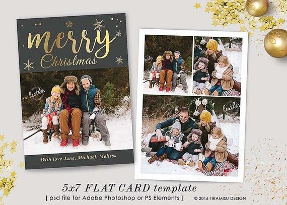 Christmas Card Photoshop Templates Christmas Card Template 7x5 In Holiday Card Adobe Shop