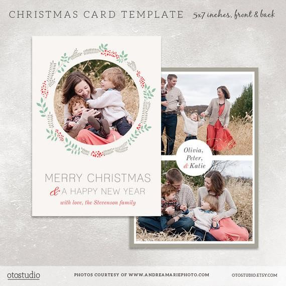 Christmas Card Photoshop Templates Christmas Card Template for Photographers Digital Photoshop