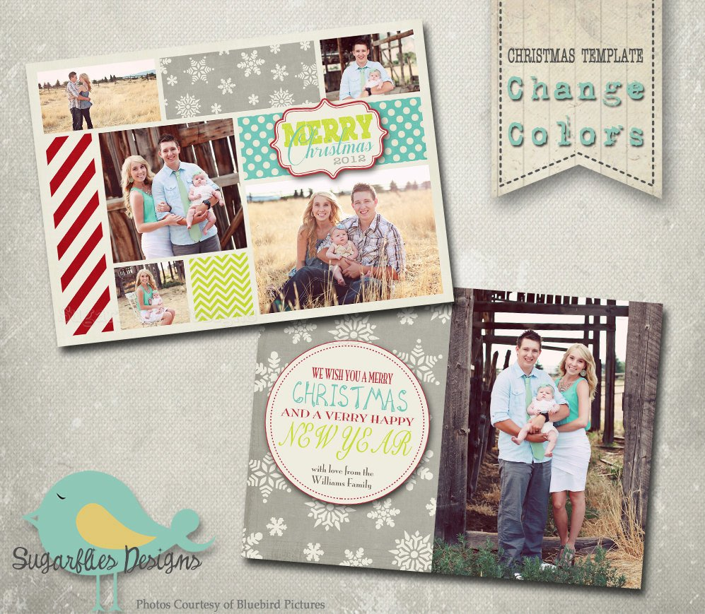 Christmas Card Photoshop Templates Christmas Card Template Photoshop Template Family Christmas