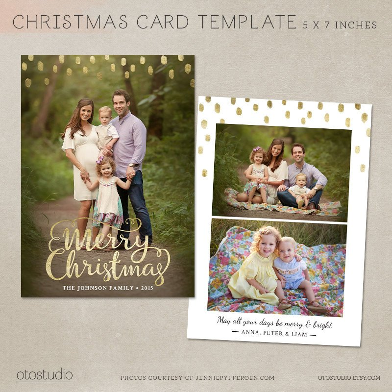 Christmas Card Photoshop Templates Christmas Card Template Shop Template 5x7 Flat Card