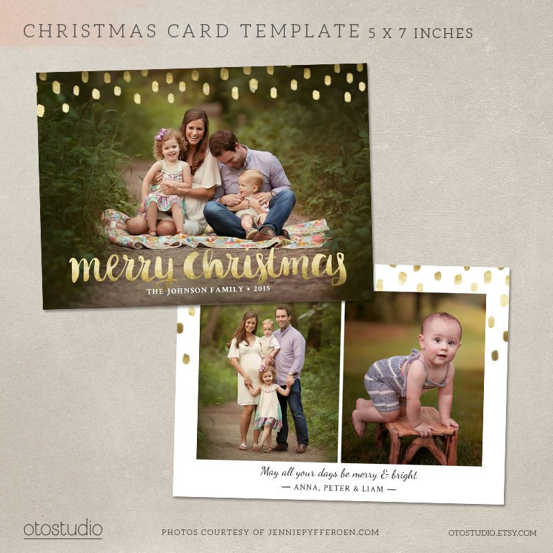 Christmas Card Template Photoshop Christmas Card Template Shop Template 5x7 Flat Card