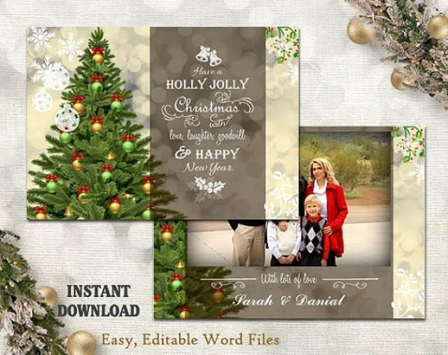Christmas Card Template Word Christmas Card Template Holiday Greeting Card