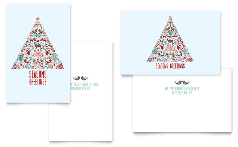 Christmas Card Template Word Holiday Art Greeting Card Template Word & Publisher