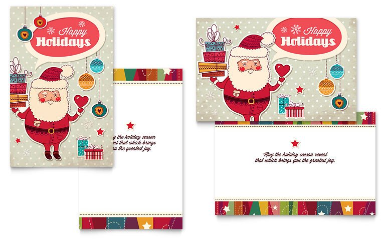 Christmas Card Template Word Retro Santa Greeting Card Template Word & Publisher
