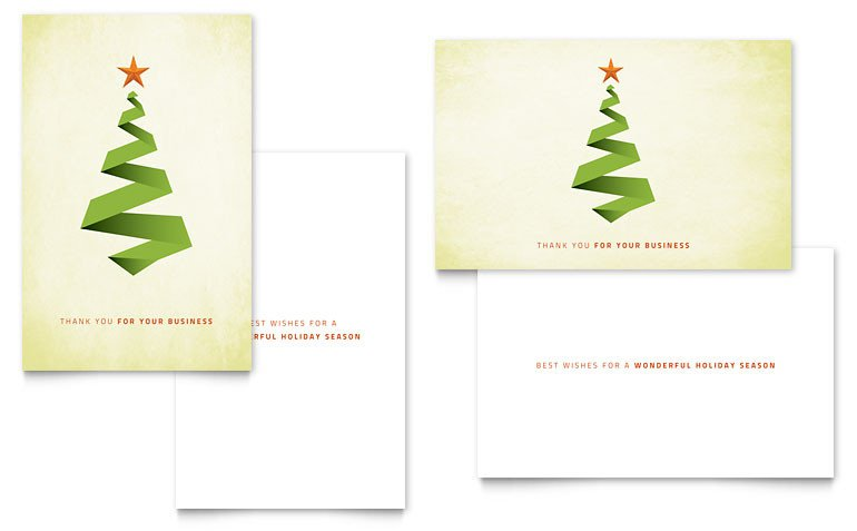 Christmas Card Template Word Ribbon Tree Greeting Card Template Word & Publisher