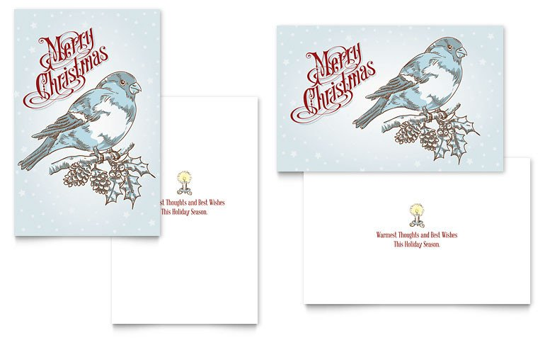 Christmas Card Template Word Vintage Bird Greeting Card Template Word & Publisher
